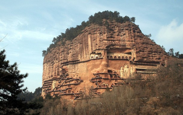 CAVES OF MAYTSZISHAN IN GANSU PROVINCE -CHINA