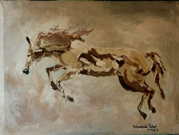 PAINT Running Brown Horse
